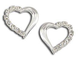 Brinco folheado a prata em forma de coração...